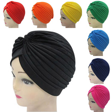 Stretch Bandanas  New Scarf Turban Muslim Hat Wrap Chemo Knotted Indian Cap Adult for Women