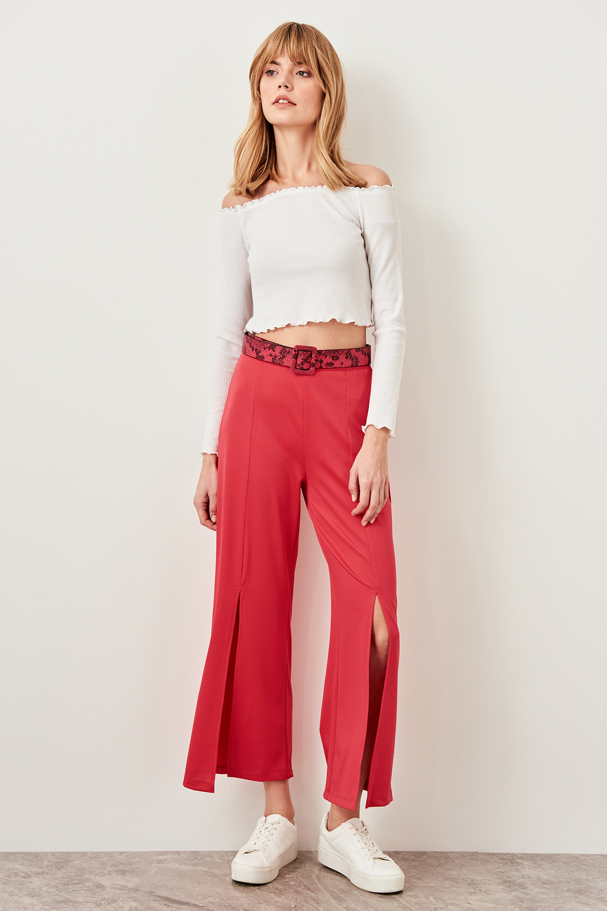 Trendyol Fuchsia Knitted Trousers Slit TWOSS19VG0114