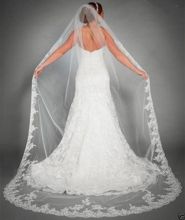 One Layer Tulle Ivory Lace Edge Wedding Veil Elegant Veu De Noiva Longo Long Bridal Veil Voile Mariage Wedding Accessories
