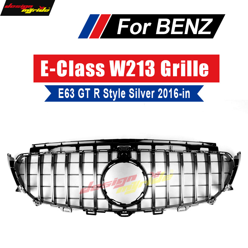 GT R Style Grille W213 Sport E63AMG Look ABS Silver With camera For Mercedes E class E200 E250 E300 E350 grills Without sign 16+ image
