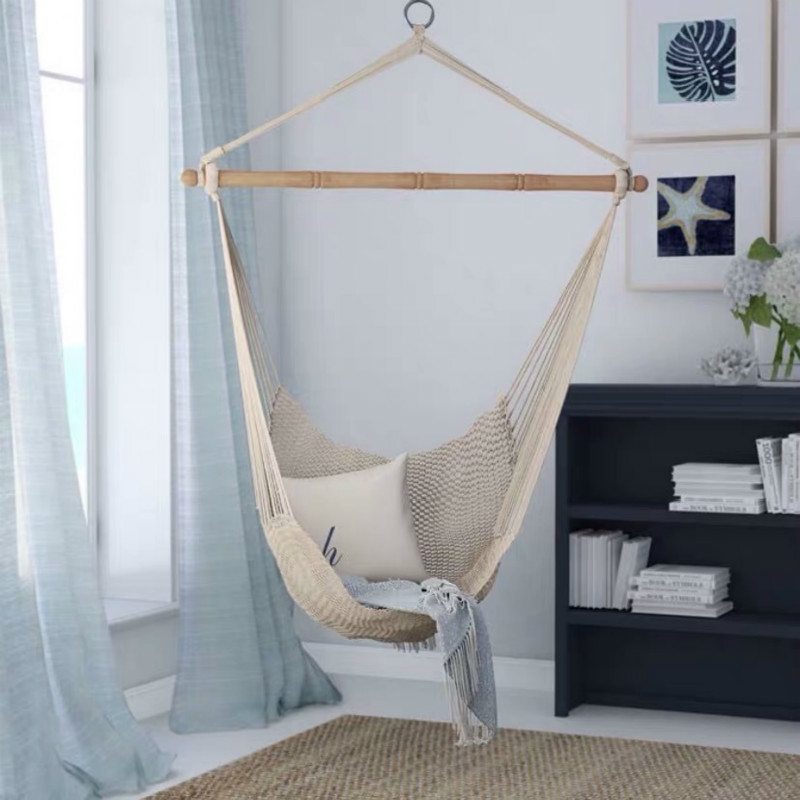 Boho Cotton Canvas Hammock Chair Macrame Swing For Indoor Outdoor Hanging Chair Maximum Weight 330 Pounds