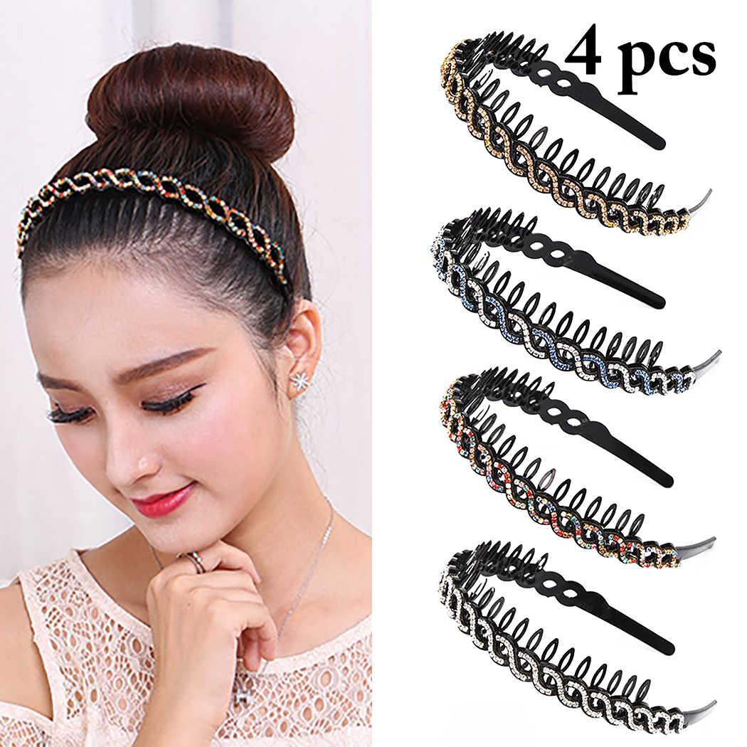 Hairband Non-slip Bezel Rhinestone Flower Hair Hoop Headband for Women Headpiece