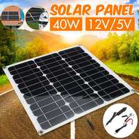 40w Fexible Solar Panel Panels Solar Cells Cell Module Double USB interface12V/5V for Car Yacht Led Light Boat Outdoor Charger