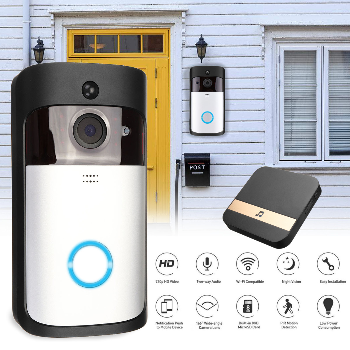 Wireless 1080P Video Doorbell Camera Battery Support PIR Detect Night Vision with DingDongWireless 1080P Video Doorbell Camera Battery Support PIR Detect Night Vision with DingDong