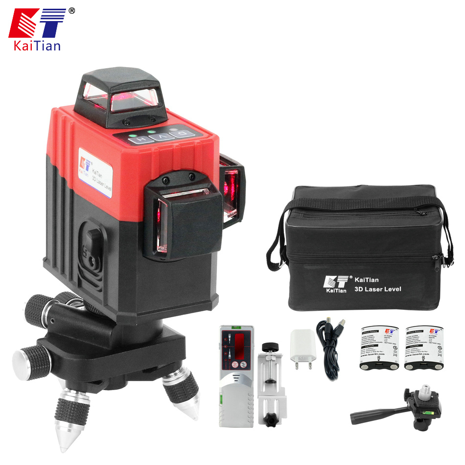 KaiTian Laser Level 3D 360 Leveler Receiver Construction Horizontal Vertical 12 Line Rotary Self Leveling Level