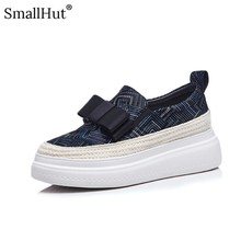 Women Flat Platform Shoes Genuine Leather Lady Sneaker Butterfly knot Spring Autumn Blue Black Round Toe Loafers F009