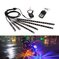 AOZBZ 6pcs 72 LEDs Motorcycle LED Neon Strip LampGlow Light Flash Fade Strobe RGB 5050 SMD Voice Control Static Colors