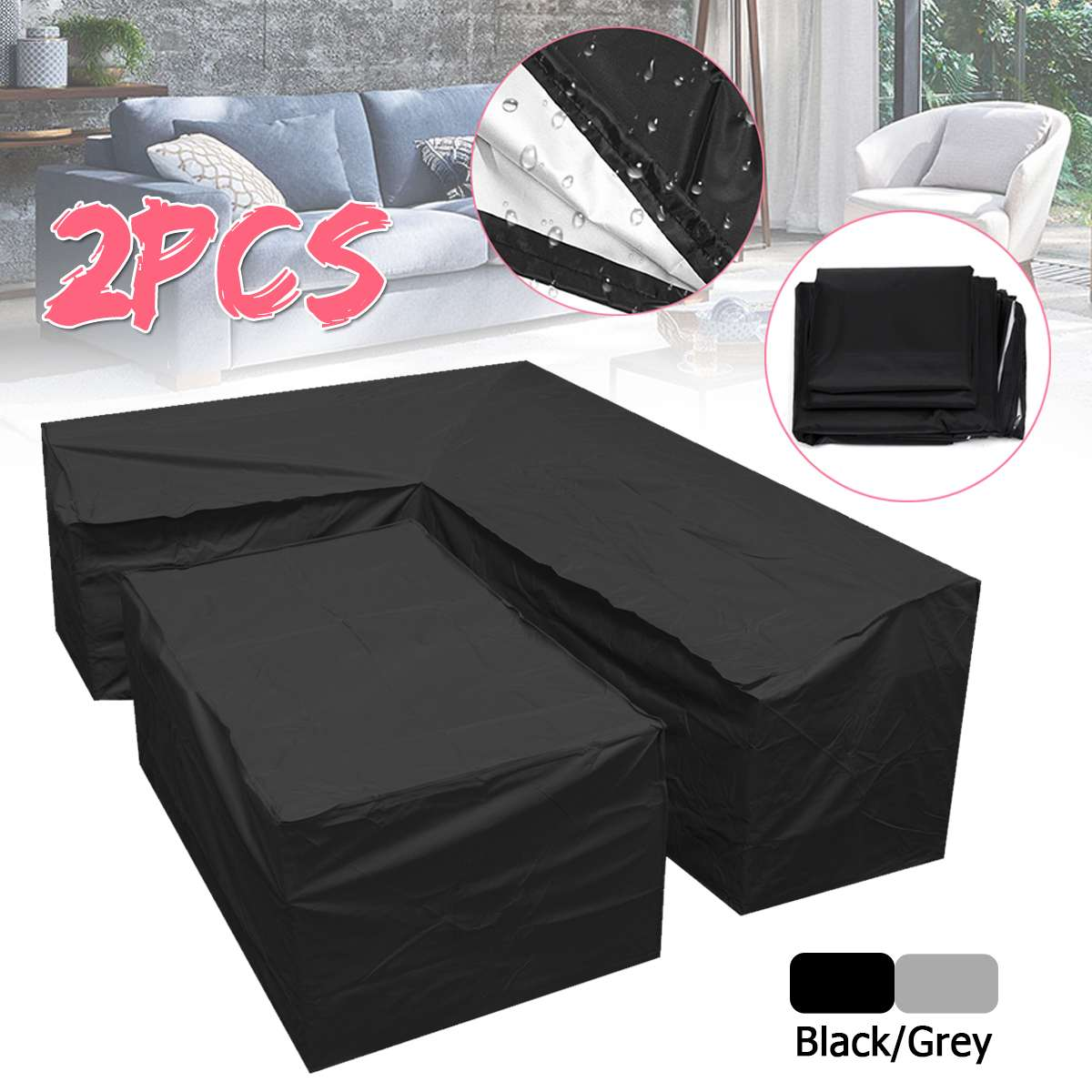 Astonishing L Shape Dustproof Furniture Cover Waterproof Outdoor Sectional Rain Dust Cover Wicker Corner Sofa Couch Covers All Purpose Cover Theyellowbook Wood Chair Design Ideas Theyellowbookinfo