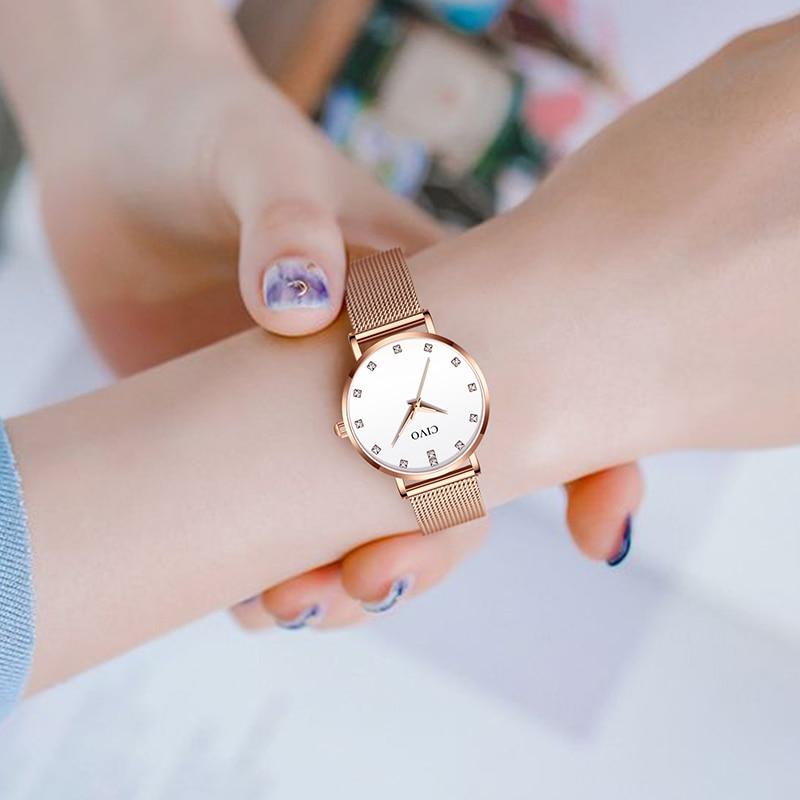 CIVO Luxury Diamond Bracelet Watch Fashion Wrist Watches For Women Waterproof Slim Steel Mesh Ladies Quartz Clock Relojes Mujer in Women 39 s Watches from Watches