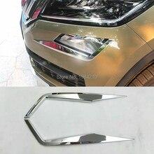 MONTFORD ABS Chrome Front Fog Light Cover font b Lamp b font Eyebrow Bumper Lid Eyelid