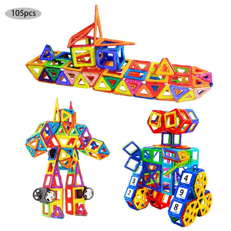 105pcs/pack Magnetic Designer Construction Set Model & Building Toy Magnets Magnetic Blocks Educational Toys for Children цена