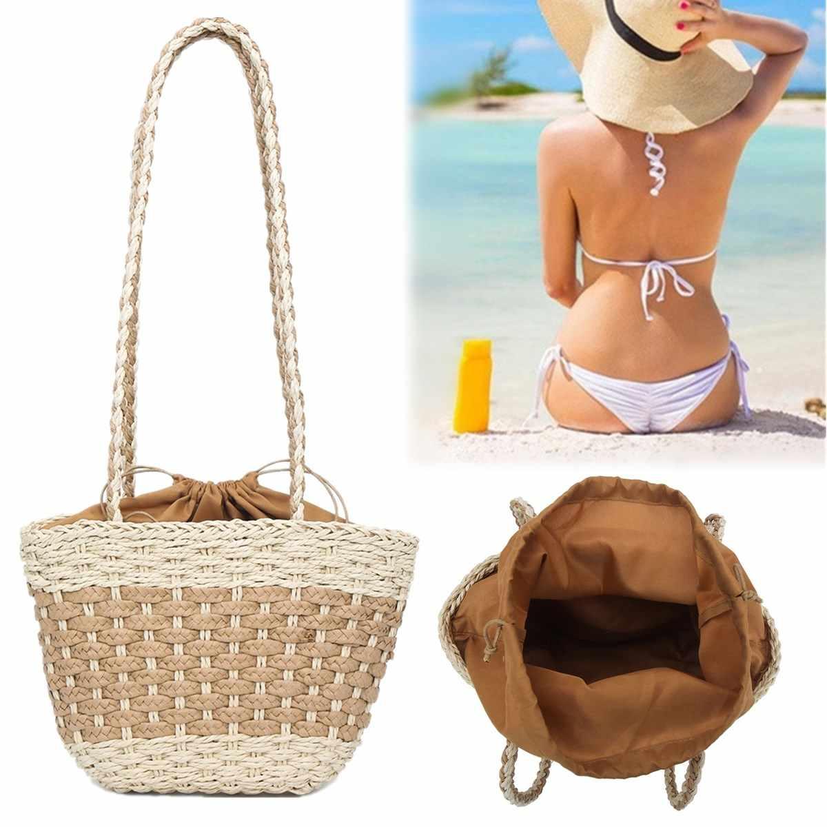 Venda quente do Verão Saco de Praia Bolsa de Rattan Bolsa De Palha Mulheres Bali Tecelagem Bolsas Senhoras Baldes Saco Crossbody bolsa de Ombro Com Cordão