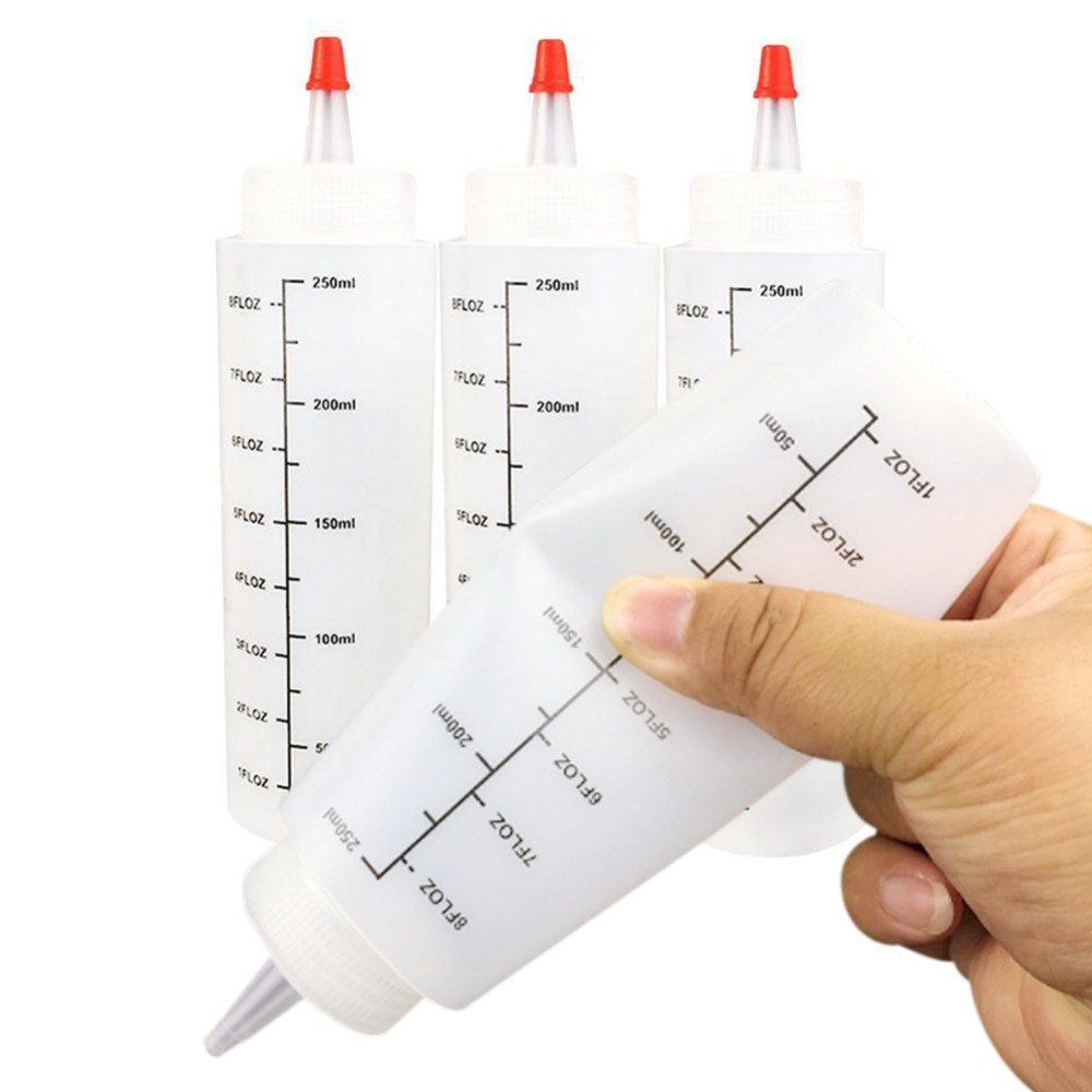 5pcs/set 250ML Plastic Needle-nosed Bottle With scale Squeeze Bottle With Leak-Proof Cap Sauce Bottle Salad Squeezable Bottle image