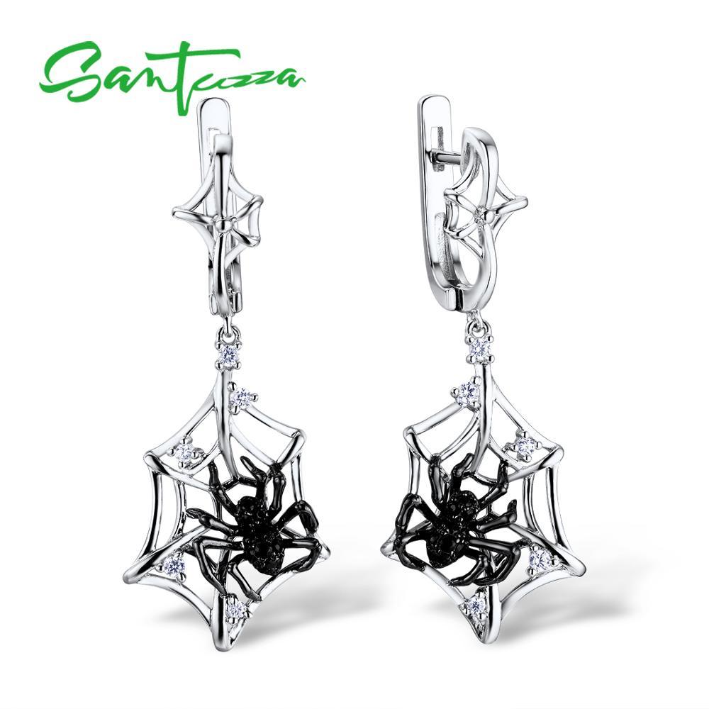 SANTUZZA Silver Earrings For Women 925 Sterling Silver Spider Dangle Earrings Sparkling Cubic Zirconia серьги Fashion Jewelry