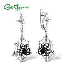 Santuzza Zilveren Oorbellen Voor Vrouwen 925 Sterling Zilver Spider Dangle Oorbellen Sparkling Zirconia Mode sieraden