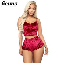 купить Genuo Velvet Sexy 2 Piece Set Women Casual Crop Top With Shorts Set Club Outfit 2018 Autumn Slim Casual Two Piece Set Tracksuit по цене 650.01 рублей