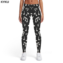 KYKU Brand Music Leggings Women Black Ladies Retro Printed pants And White 3d Print Harajuku Elastic