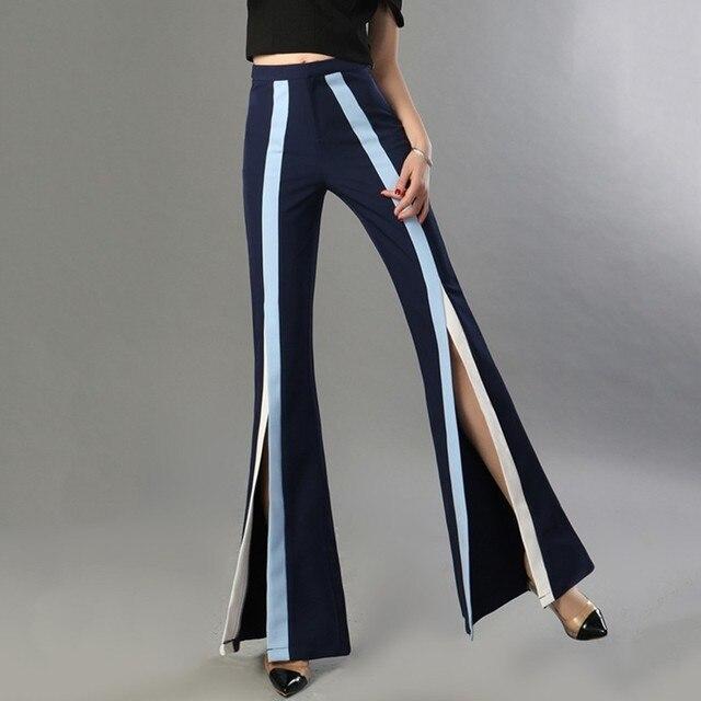 Pantalón cintura alta split color 3