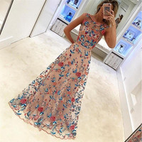Summer Dress Women Lady Sleveless Embroidered Dress Long Prom Floral Party Pageant Wedding Evening Ball Gown Full Dress Vestidos