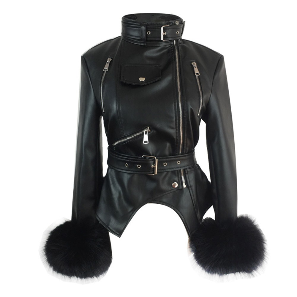 Turquoise Fox Fur Cuffs: Rosetic Gothic PU Leather Jackets Women Faux Fox Fur Cuffs