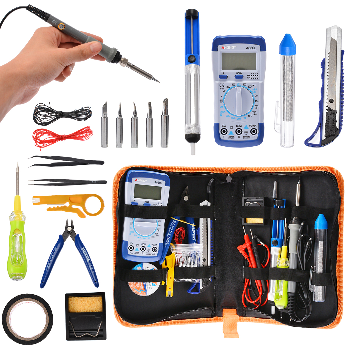 1set 20 in 1 110V 220V 60W Temperature Electronic Soldering Iron Kit Adjustable Temp Portable Welding Repair Tool Set