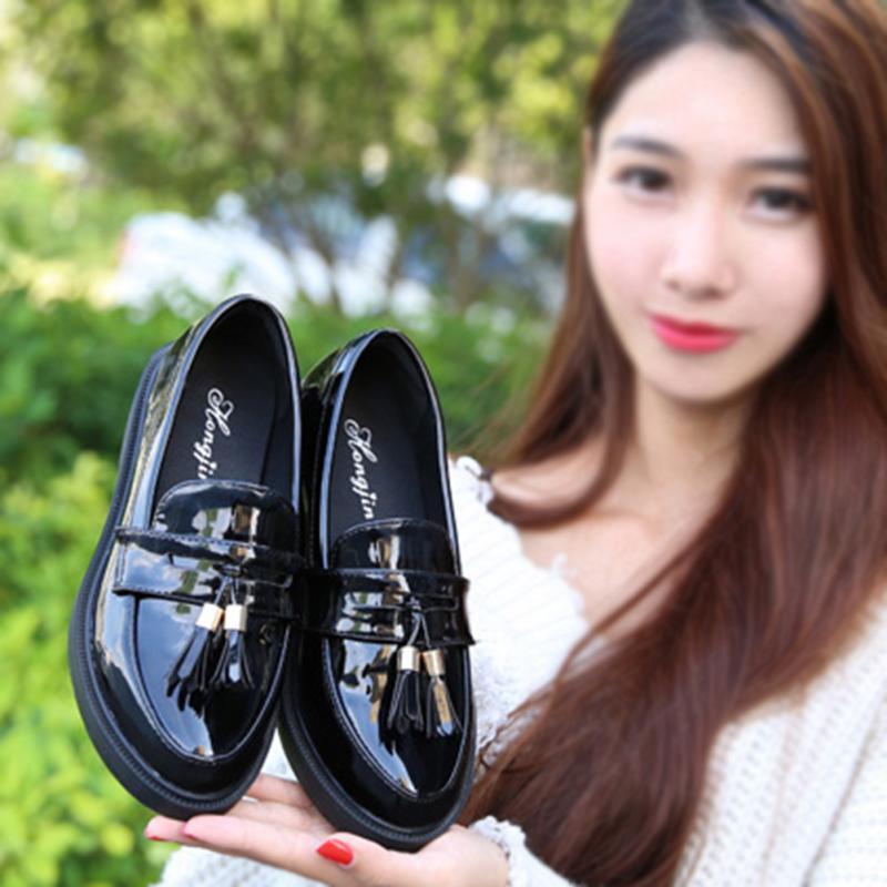 rojo Charol Vintage Otoño De Sólido Mujer Antideslizantes Par Zapatos Borlas Negro Goma Suela 1 OBwCpqxtx