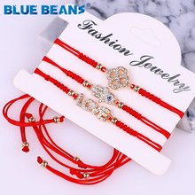 Bohemia Bracelets tree of Life Women With Braided Rope Beaded Evil Eye Charm Bracelets Crystal Adjustable heart fashion lucky(China)