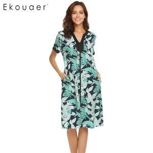 Image 5 - Ekouaer femmes chemises de nuit Chemise de nuit col en v à manches courtes Floral avant fermeture à glissière vêtements de nuit Chemise de nuit femme robe de nuit