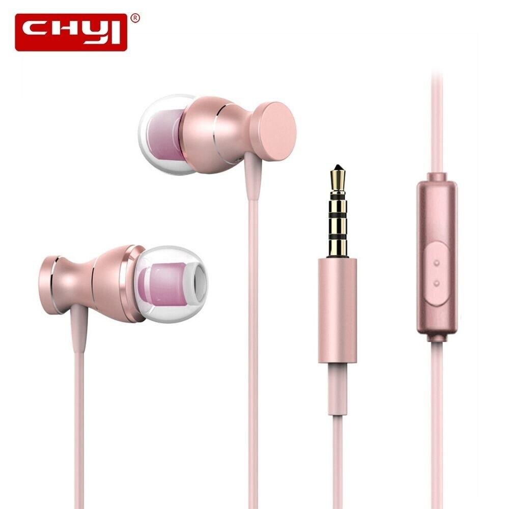 Deskundig Chyi In-ear Wired Oortelefoon Rose Gold Magneet Waterdichte Zware Muziek Headset Sport Headset Fone De Ouvido Voor Samsung S6 Xiaomi