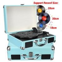 Vintage Black 33/45/78 RPM Bluetooth Portable Suitcase Turntable Vinyl LP Record Player Aux in Line out AC 100~240V