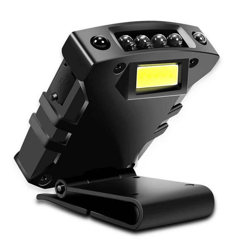 Super Bright USB Rechargeable COB LED Cap Light Smart Sensor Headlight Head Flashlight Clip-on Cap Hat Light Fishing Head Lamp