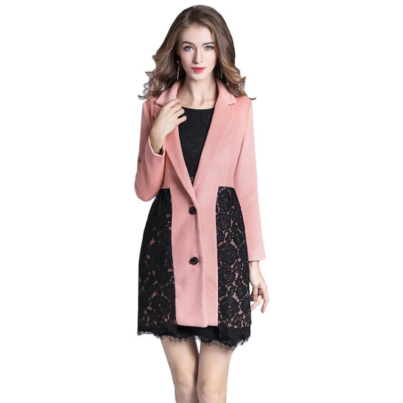 Women's New double sided cashmere coat lace long single breasted woolen coat pink elegant cosy warm slim overcoat - 3