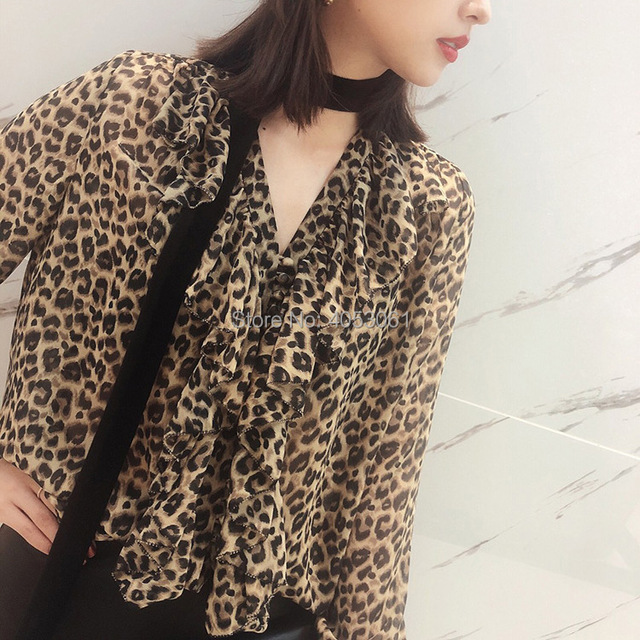 88096e4678df Silk Leopard Printing Blouse Tops With V Neck Ruffled Detail & Features  Velvet Tie Patchwork - 2019 Animal Printed Blouse Shirt
