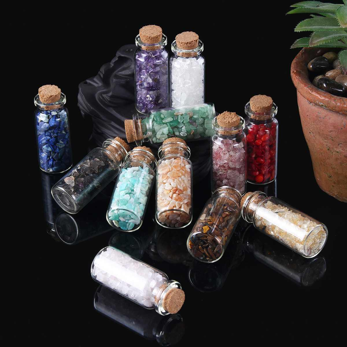 KIWARM 30g 12 Types Natural Quartz Crystal Stone Crystal Gravel Wishing Bottle Gemstone Natural Quartz Stones Chip Mineral