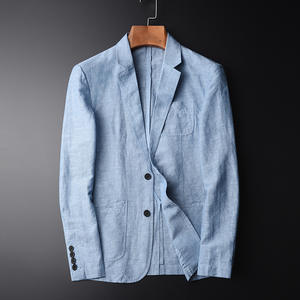 MINGLU Blazer Man Linen Suit Jacket Autumn Casual Male Size