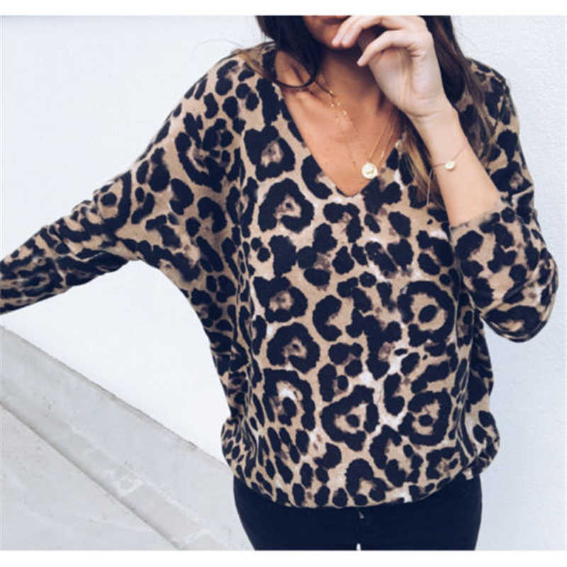 cf2829eccdf848 ... Fashion stretchable Womens Dresses Ladies Leopard V Neck Elegant Tops  Bodycon Low-cut Long Sleeve ...