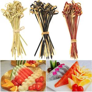 Image 5 - 100 Pcs Creative 13 cm Food Cocktail Sandwich Fork Stick Skewer Bamboo Knot Skewers Cocktail Sticks Canape Buffet Tableware
