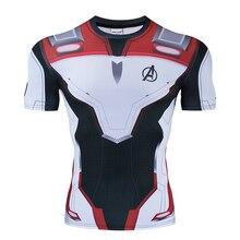Мстители 4 эндшпиль Quantum войны 3D футболки с принтом обтягивающая мужская кофта гладить мужской костюм для косплея топы с короткими рукавами для мужчин