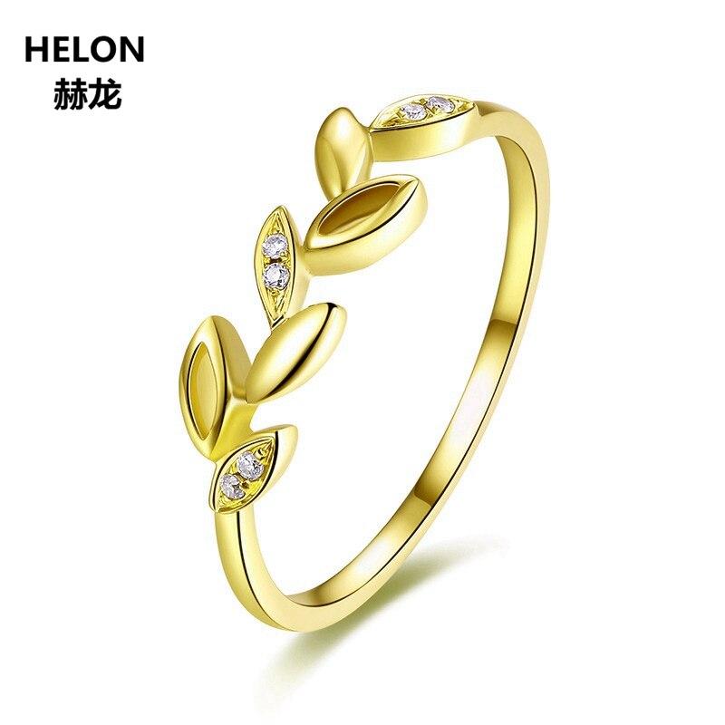 Feuille Solide 14 k Or Jaune Diamants Naturels de Fiançailles Anneau De Mariage Anniversaire Band Bijoux Femmes À La Mode