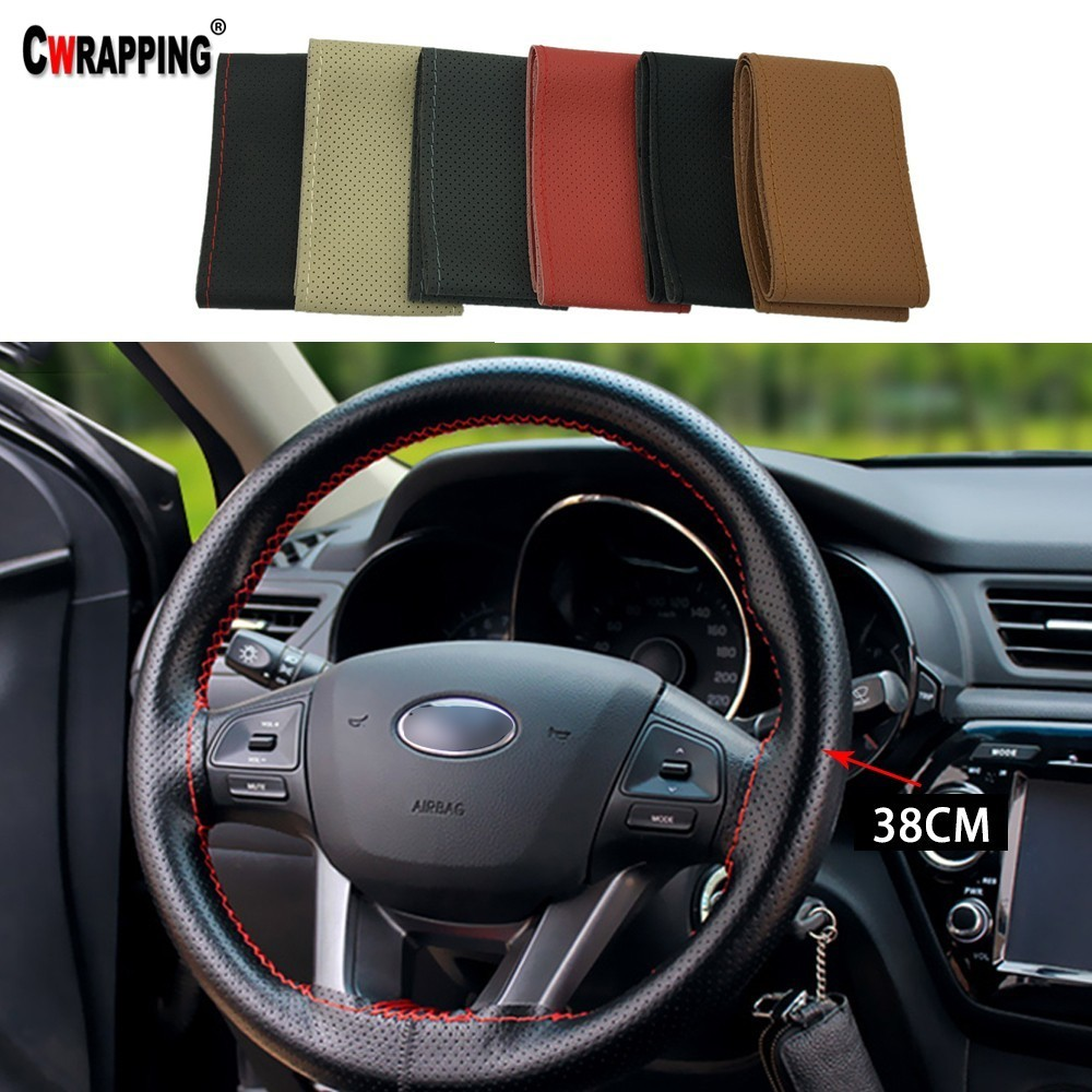 Us 3 74 25 Off Car Leather Steering Wheel Cover Breathable Anti Slip Sleeve Protector Hand Sewing Braid Design With Needle Thread Kit 15inch In