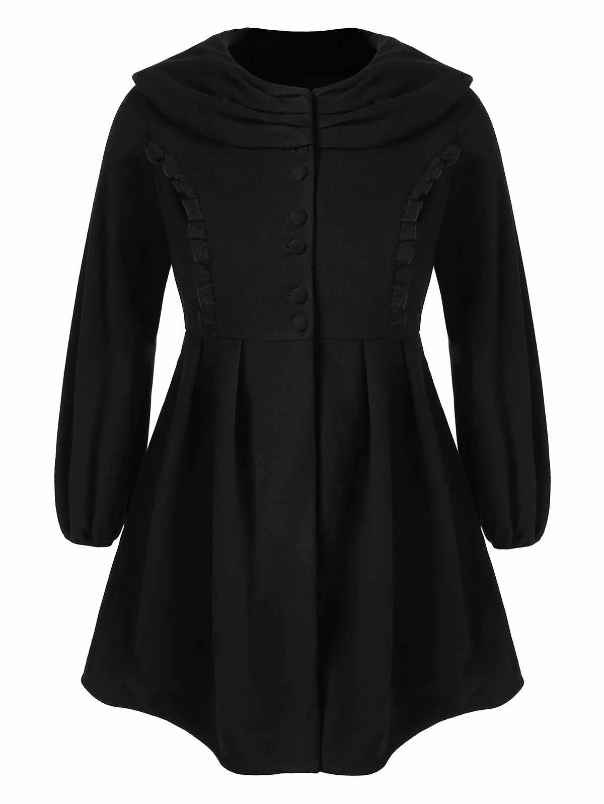 0889eeae6ba ... Wipalo Women Plus Size Ruffle Long Wool Skirted Coat Single Breasted  Empire Waist Casual Solid Blends