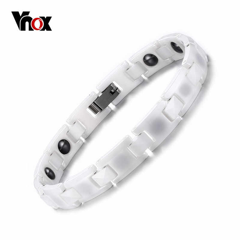 Vnox White Ceramic Bracelets for Women Trendy Healthy Magnetic Energy Bracelet 18cm Can Adjust