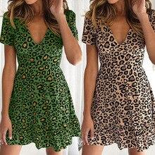 Women Sexy Leopard Dress V-Neck Short Sleeve Ruffles Mini Dresses Ladies Dot Printed Summer Elegent Female Vestidos De Fiesta