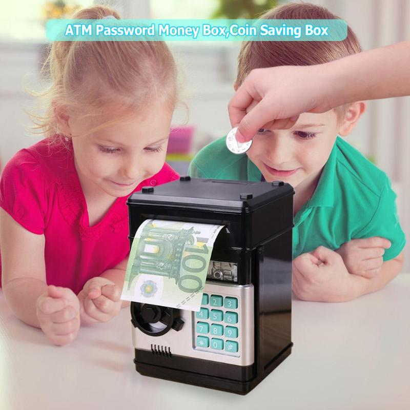 Automatic Electronic Piggy Bank ATM Password Money Box Cash Coin Saving Box  Auto Scroll Paper Banknote Gift For Kids