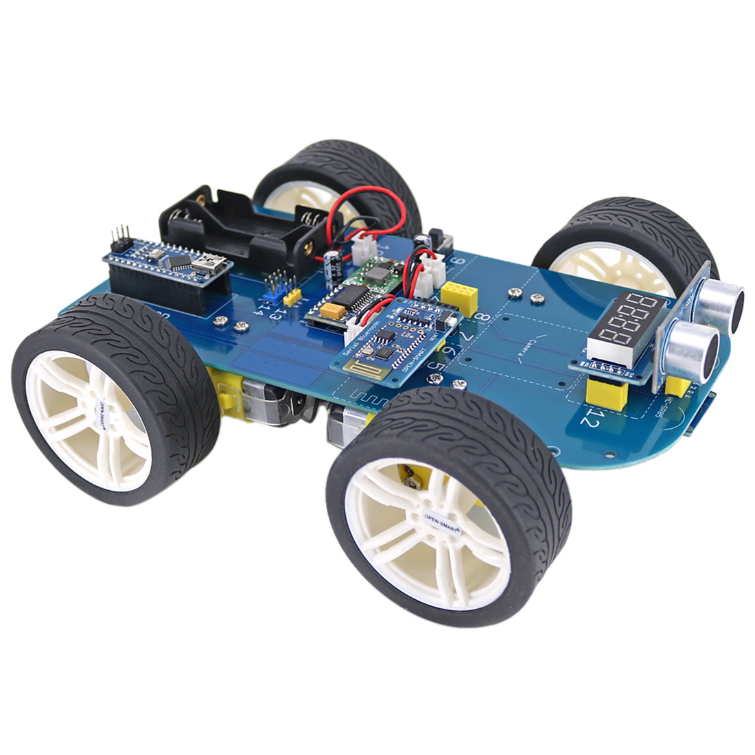 2019 High-tech Programmable Boys 4WD Bluetooth Smart Car Kit Ultrasonic Display And Obstacle Avoidance Kit +Tutorial For Arduino