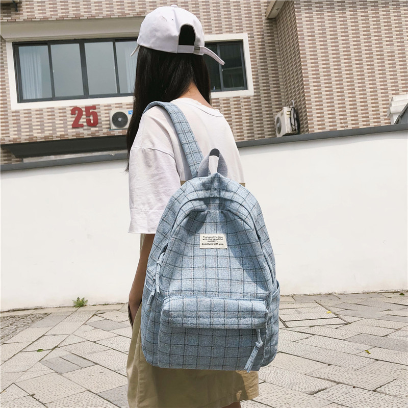 Backpack For Women 2019 Plaid Pattern Soft Fabric Mochila Mujer School Bag For Teenage Girls Laptop Backpack Sac A Dos Back Pack