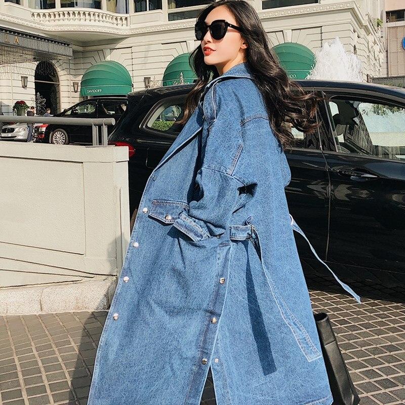 Bleu coat breasted Lâche Jeans Longs Single Réglable Trench Taille Nouveauté Femelle Outwears Femmes Denim A5xOZqz