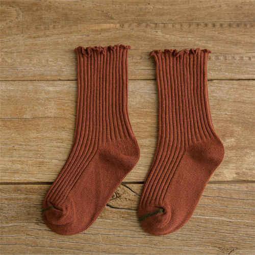 เด็กทารกเด็กวัยหัดเดินผ้าฝ้ายเข่า Frills Trim ถุงเท้า 12 เดือน - 8 ปี