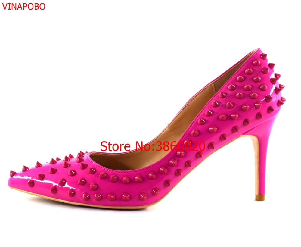 Free shipping fashion women Pumps Fuchsia studded spikes rivets Pointed toe high heels shoes plue size
