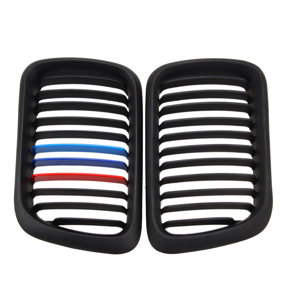 1 Pair Front Matt black M Style Kidney Grille Grill For E36 M3 3 Series 1997